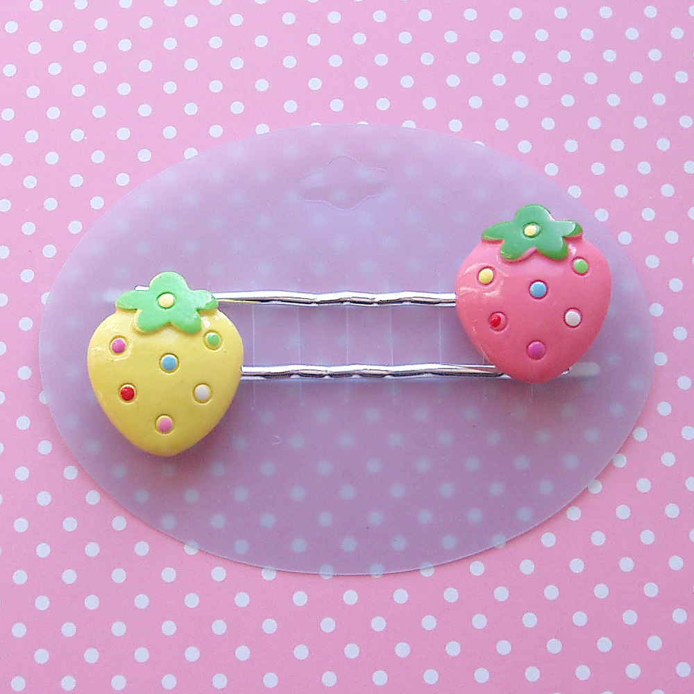 Spotty Strawberry Hair Clips
