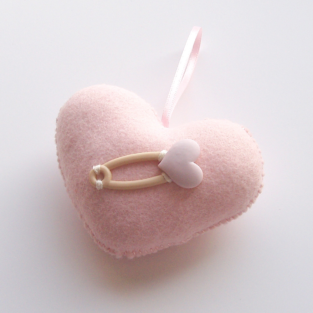 Baby Pink Love Heart with Heart Pin