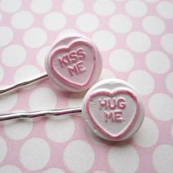 Candy Heart Hair Clips - set of 2